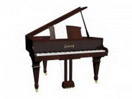 Brown grand piano 3d model