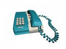 Blue and white telephone 3d model
