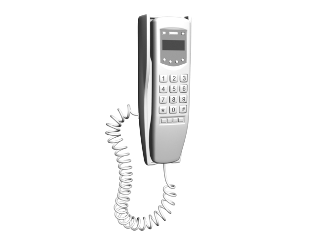 Corded Wall Phone White 3d Model 3ds Max Files Free