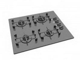 4 burner gas cooktop 3d model