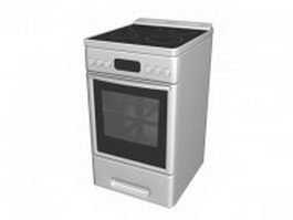 Stainless steel electric range 3d model