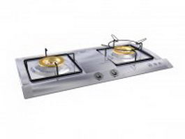 2 burner built-in gas cooktop 3d model