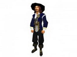 Mens pirate captain 3d model