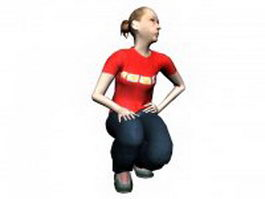 Squat sitting woman 3d model