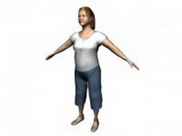 Middle-aged woman standing 3d model