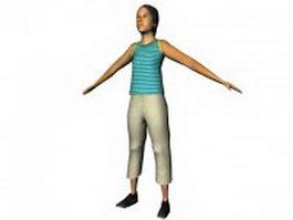 Asian woman standing 3d model