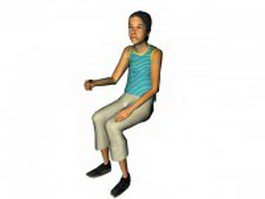 Woman sitting and drink 3d model