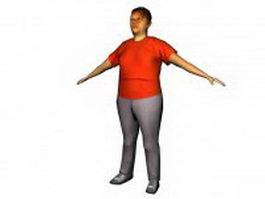 Fat woman standing 3d model