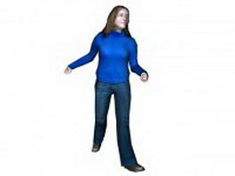 Happy woman walking 3d model