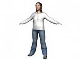 Woman standing in coat 3d model
