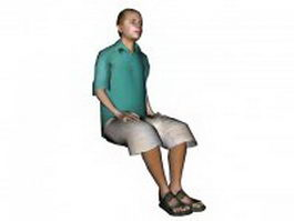 Young man sitting on chair 3d model