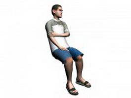 Man sitting on chair 3d model