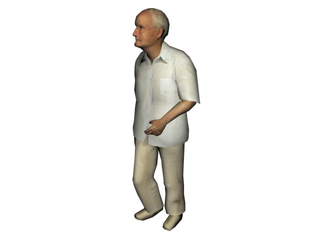 Old man walking 3d model 3ds max files free download - modeling