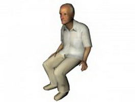 Old man sitting 3d model