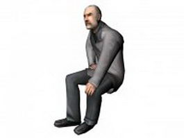 Business older man sitting on bench 3d model