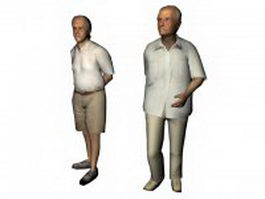 Two older men stand together 3d model