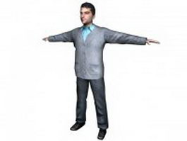 Young businessman stand 3d model