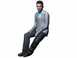 Businessman sitting down 3d model