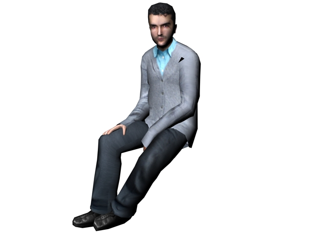 Businessman Sitting Down 3d Model 3ds Max Files Free