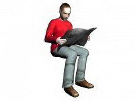Adult man sitting reading newspaper 3d model