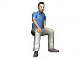 Middle-aged man sitting 3d model