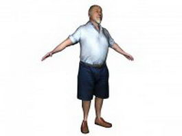 Fat old man in shirt 3d model
