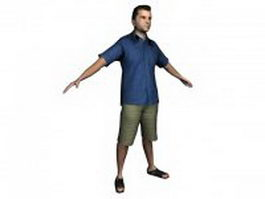 Young man standing in shirt 3d model