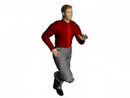 Running businessman in red shirt 3d model