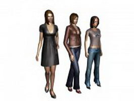 Three young women dress casually 3d model