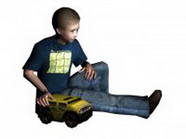 Little boy sitting with toy truck 3d model