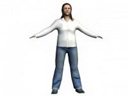 Casual woman rigged 3d model