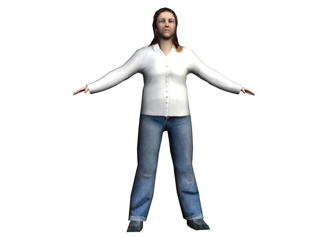 Casual woman rigged 3d model 3ds max files free download