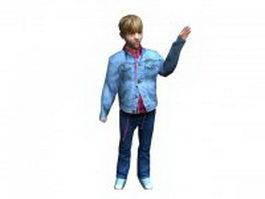 Boy wave bye 3d model