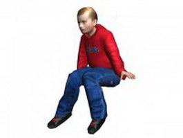 Teen boy sitting down 3d model