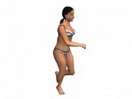 Running woman in swimwear 3d model