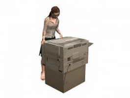 Office woman use copier 3d model