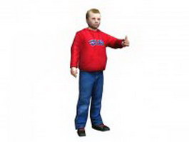 Blonde boy giving thumbs up 3d model