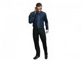 Man talking on mobile phone 3d model