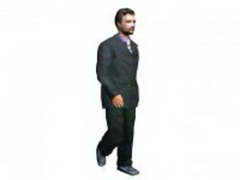 Business man walking down 3d preview