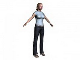 Female people T pose 3d model