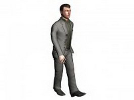 Man in business suit walking 3d model