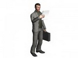 Man with briefcase 3d model