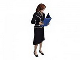 Office lady reading documents 3d model