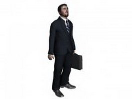 Office man with briefcase 3d model