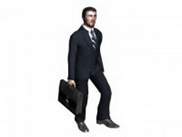 Man in business suit with briefcase 3d model