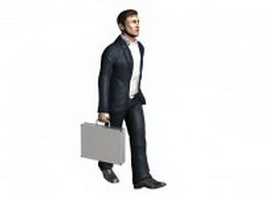 Man walking with briefcase 3d model