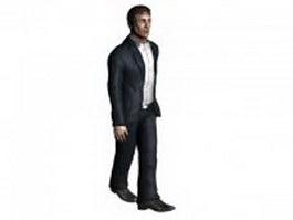 Man in suit walking 3d model