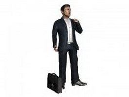 Man smoking cigarette with briefcase 3d model