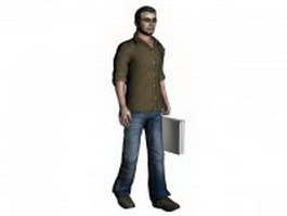 Leisure man holding briefcase 3d model