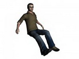 Man sitting and relaxing on sofa 3d model